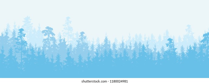 Wide illustration of a coniferous forest in winter weather, more layers and space for text - vector