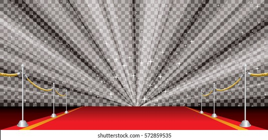 wide illustration of empty red carpet with transparent star-burst, editable and layered