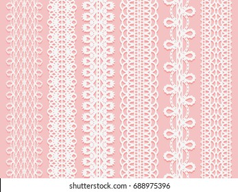 Wide lace ribbons set on a pink background. Vector illustration