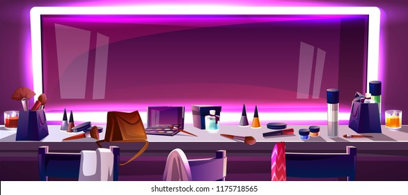 Wide mirror for makeup surrounded by frame of LED strip lght, cartoon vector illustration. Dressing table and mirror in artists dressing room, on shelf are accessories for drawing make-up