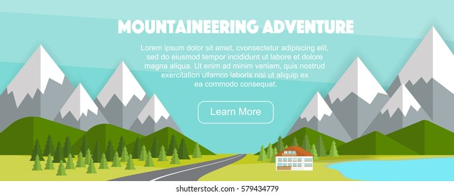 Wide panoramic countryside background, vector illustration. Cute house, Alps view, road and lake.