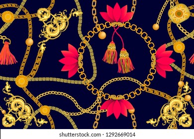 Wide print with golden chains and brushes inspired by Chinese art. Seamless vector pattern with jewelry elements. Women's fashon collection. On black background.