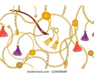 Wide print with golden chains, leather accessories and curtain brushes. Seamless vector pattern with jewelry elements. Women's fashon collection. On white background.