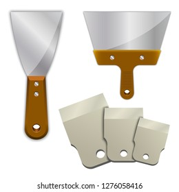 Wide putty knife on a white background. Building tool. Spackling instrument. Edged rubber putty knife. Spatula for finishing work of butt joints.