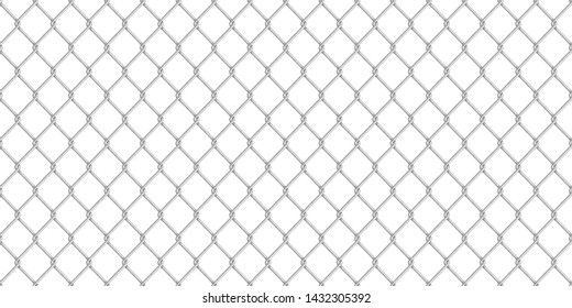 Wide realistic glossy metal chain link fence isolated on white