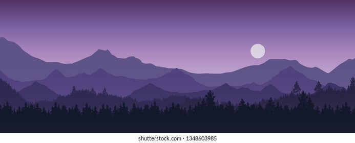 Wide realistic illustration of mountain landscape with forest and trees. Purple night sky with moon or sun - vector