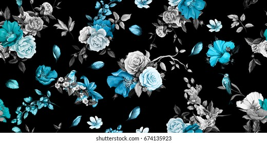 Wide seamless background pattern. Rose, peony, poppy, pomegranate buds and nightingales. Authentic hand drawn illustration. Watercolor, vector - stock.