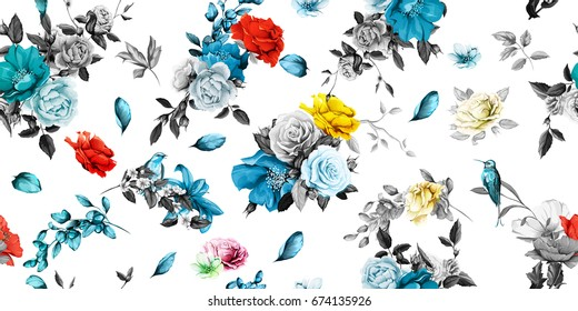 Wide seamless background pattern. Rose, peony, poppy, pomegranate buds and nightingales on white. Hand drawn illustration. Watercolor, vector - stock.