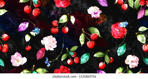 Wide seamless floral background with flowers, fruit cherry and leaf on black. Vintage artwork hand drawn pattern, watercolor. Vector - stock.