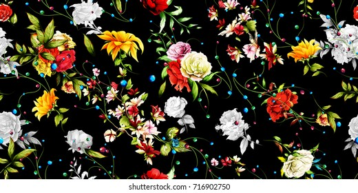 Wide seamless floral background pattern. Sunflower, roses with rosemary and leaves on black. Watercolor, hand drawn. Vector - stock.