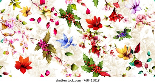 Wide seamless floral background pattern. Magnolia flowers with christmas tree, branches with leaves on pastel. Hand drawn, vector - stock.