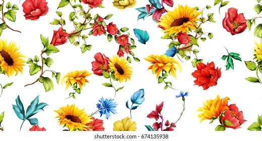 Wide seamless pattern of sunflowers with pomegranate buds and cornflowers on white. Abstract. Hand drawn. Watercolor. Vector - stock.