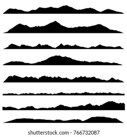 Wide semi-detailed panoramic silhouettes of highlands, mountains and rocky landscapes. Vector illustration