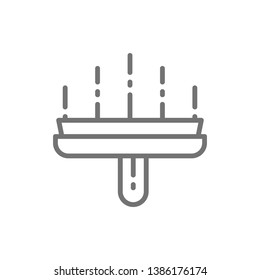 Wide spatula, putty knife, puttying line icon.