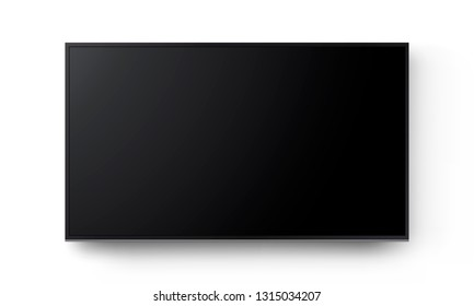 Wide television screen on wall mockup isolated on white background. Vector illustration
