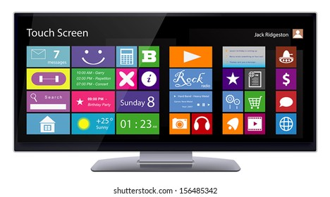 Wide Touch Screen computer monitor with color metro icons on display. Vector illustration isolated on white background.