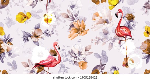 Wide vintage floral seamless background pattern. Beauty tulips with leaf and birds flamingo on light. Abstract, pure vector.