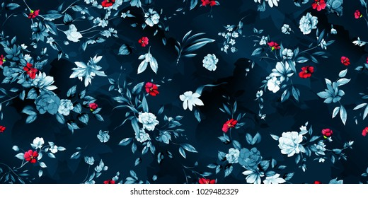 Wide vintage seamless background pattern. Peony, magnolia, wild flowers with leaf on dark blue. Abstract, hand drawn, vector - stock.