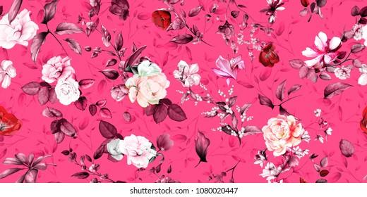Wide vintage seamless background pattern. Rose, magnolia, peony, wild flowers with leaf on pink. Abstract, hand drawn, vector - stock.