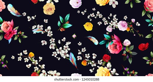 Wide vintage seamless background pattern. Sakura, wild flowers with  leaf on black. Abstract, hand drawn, vector - stock.