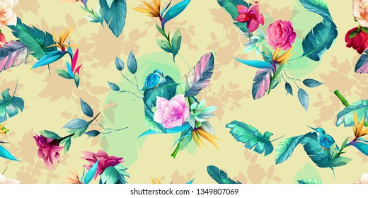 Wide vintage seamless background pattern. Tropical leaves, peony, wild flowers with halcyon bird on pastel. Abstract, hand drawn, vector - stock.
