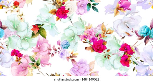 Wide vintage seamless background pattern. Beauty wild flowers with leaf on light buds behind. Abstract, hand drawn, vector - stock.