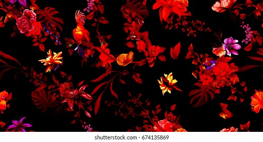 Wide vintage seamless background pattern. Parrot cockatoo on the tropical branches with leaves and flowers on dark red. Stylized version. Abstract, hand drawn, vector - stock.