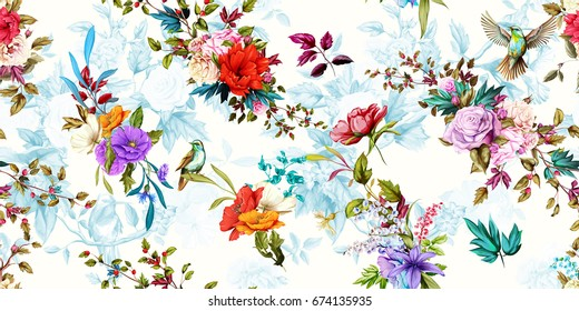 Wide vintage seamless background pattern. Rose, poppy, wild flowers with nightingales and leaf. Abstract, hand drawn, vector - stock.