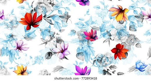 Wide vintage seamless floral pattern. Magnolia with leaves and peony flowers on light blue background. Hand drawn, vector - stock.