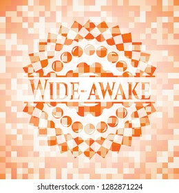 Wide-awake abstract orange mosaic emblem with background