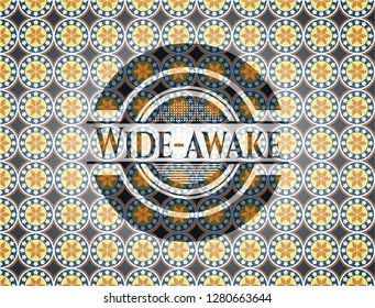 Wide-awake arabic badge background. Arabesque decoration.