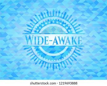 Wide-awake sky blue emblem with mosaic background