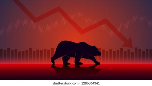 Widescreen Abstract financial chart with downtrend line graph and walking bear icon in stock market on red color background