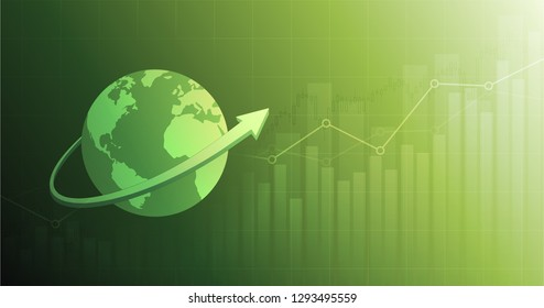 widescreen Abstract financial chart with up trend line graph and arrow around globe on green color background