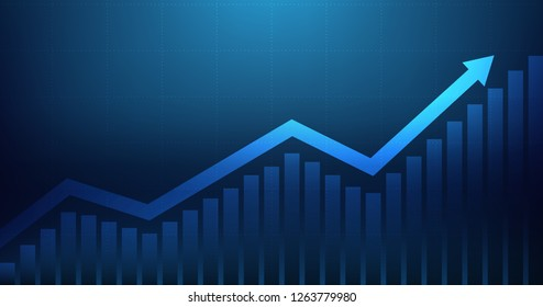 Widescreen Abstract financial graph with uptrend line arrow and bar chart of stock market on blue color background