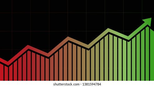 widescreen abstract financial graph with uptrend line arrow and bar chart in stock market on black color background