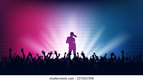 Widescreen Silhouette of people raise hand up in concert with woman singer on stage and digital dot pattern on blue pink color background