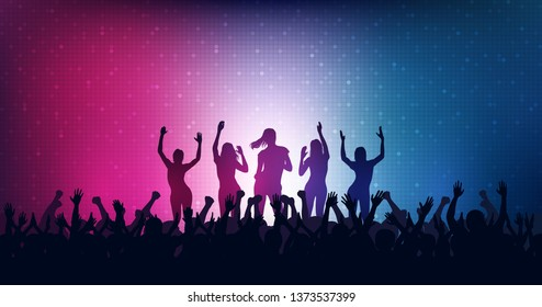 Widescreen Silhouette of people raise hand up in concert with female dancing on stage and digital dot pattern on blue and pink color background