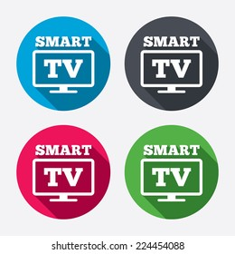 Widescreen Smart TV sign icon. Television set symbol. Circle buttons with long shadow. 4 icons set. Vector