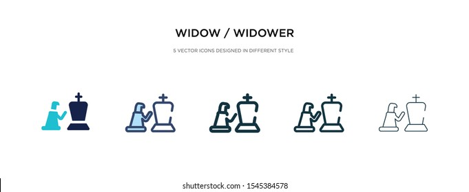 widow / widower icon in different style vector illustration. two colored and black widow / widower vector icons designed in filled, outline, line and stroke style can be used for web, mobile, ui