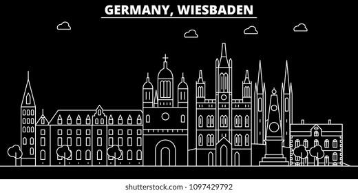 Wiesbaden silhouette skyline. Germany - Wiesbaden vector city, german linear architecture, buildings. Wiesbaden line travel illustration, landmarks. Germany flat icon, german outline design banner