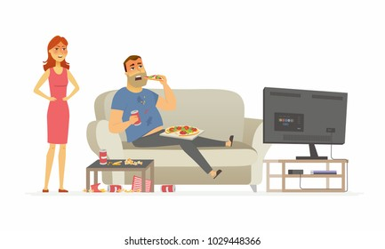 Wife angry with husband - cartoon people character isolated illustration on white background. An image of a young woman shouting at the man eating fast food and making a mess in front of the TV