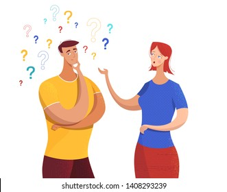 Wife asking questions flat vector illustration. Cartoon husband looking for answer. Couple, friends, colleagues having conversation, argument. Young man in doubt with hand on chin gesture