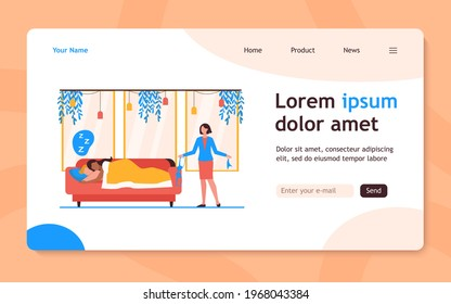 Wife finding out about marital infidelity. Lover, underwear, sofa flat vector illustration. Unfaithfulness and relationship concept for banner, website design or landing web page