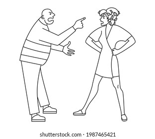 Wife screams at husband. Man and woman argue. Male and female swear. Negative emotions. Home conflict. Domestic violence. Contour drawing on an isolated white background.