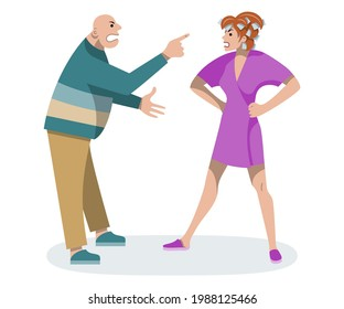 Wife screams at husband. Man and woman argue. Male and female swear. Negative emotions. Home conflict. Domestic violence. Flat illustration on isolated white background.