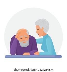 Wife supporting depressed husband flat vector illustration. Mental disorder, psychotherapy concept. Old woman consolation sad senior cartoon characters. Woman comforting upset man