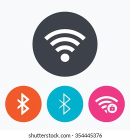 Wifi and Bluetooth icons. Wireless mobile network symbols. Password protected Wi-fi zone. Data transfer sign. Circle flat buttons with icon.