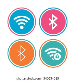 Wifi and Bluetooth icons. Wireless mobile network symbols. Password protected Wi-fi zone. Data transfer sign. Colored circle buttons. Vector