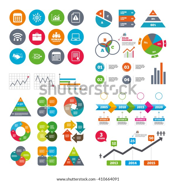 Wifi, calendar and web icons. Office, documents and business icons. Human resources, handshake and download signs. Chart, laptop and calendar symbols. Diagram charts design.